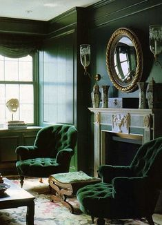 Malachite Toned Interior Moody classic styled green living room in malachite tones with accents in gold! Lush velvet green armchairs really steal the show for me! Interior by William Diamond and Anthony Baratta, The World of Interiors, January Photog Green Living, House Design, Living Room Green, World Of Interiors, Green Rooms, Interior Design, Green Home Decor, Home, Interior