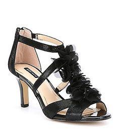 29900b8ace31 Alex Marie Madilyne T-strap Chiffon Fabric Flower Details Dress Sandals  Bridal Wedding Shoes