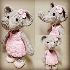 Miss Elephant 20cm tall.. . . . #amigurumi #amigurumielephant #crochet #doll #crochetdoll #crochetelephant #pattern#amigurumipattern #crochetpattern #아미구루미 #코바늘인형 #코바늘패턴 #인형스타그램 #손뜨개인형 #아미구루미 코끼리#코바늘코끼리#코끼리인형