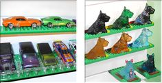 Display your diecast cars and Hot Wheels collection.  Display your glass figurine collection.