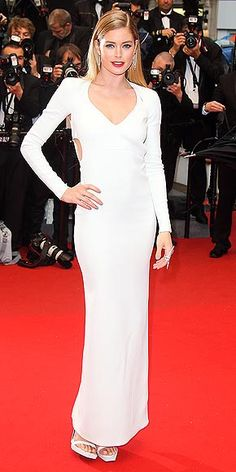 DOUTZEN KROES shows off in a Calvin Klein Collection gown, for Cannes.  #cannes #calvinklein