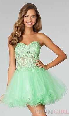 Short Strapless Sweetheart Babydoll Dress at PromGirl.com #prom #dresses