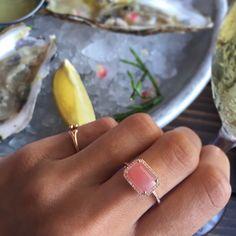 14kt rose gold and diamond guava quartz ring – Luna Skye by Samantha Conn