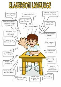 NJ English Forum : Classroom Language For You! Learning English For Kids, English Lessons For Kids, Kids English, English Language Learning, English Study, Teaching English, English For Students, English Teachers, Learn English Grammar