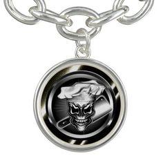 Skull Chef with cleaver Charm Bracelet