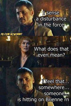 Game of thrones funny meme humour. Brienne of Tarth, Tormund, Jaime Lannister Jaime And Brienne, Jaime Lannister, Winter Is Here, Winter Is Coming, Tormund And Brienne, Real Madrid, Got Memes, Funny Memes, Game Of Thrones Funny