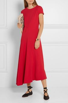 Red stretch-crepe Concealed snap and zip fastening at back  59% viscose, 37% acetate, 4% elastane; lining: 76% acetate, 24% silk Dry clean Made in Italy