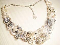 Silver Statement Necklace Bridal Bib Necklace by BrassBoheme, $105.00