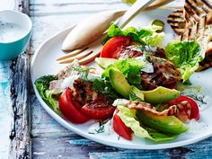 This delicious salad combines all the flavours of a BLT sandwich (bacon, lettuce and tomato) with juicy chilli chicken pieces.
