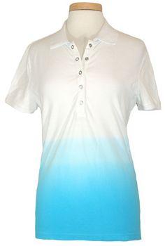 Ralph Lauren Womens Polo Shirt Ombre Stretch Pique Top Turquoise Blue Sz XL NEW #RalphLauren #PoloShirt #Casual
