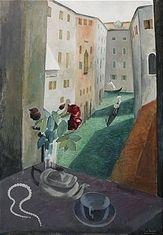 "EWALD DAHLSKOG. ""Fönsterutsikt i Venedig"". Stockholms Auktionsverk. EST: 25 000 SEK. barnebys.se"