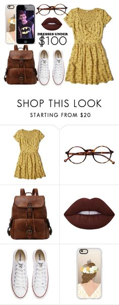 """dresses under 100"" by sabrina-emo ❤ liked on Polyvore featuring Hollister Co., Retrò, Lime Crime, Converse and Casetify"