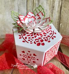 Little things that come in small packages sometimes contain big surprises. Today I& show you a small box that is not only pretty, but has room to spare for Hexagon Box, Creative Box, Making Greeting Cards, Scrapbooking, Craft Box, Home And Deco, Flower Cards, Flower Making, Stampin Up Cards