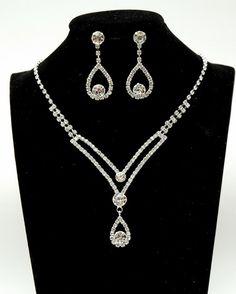 Crystal Teardrop Jewelry Set Rhinestone Bridal by OcasoGifts
