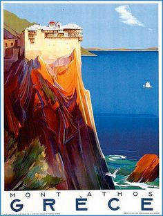 The beautiful blues of Mont Athos, Greece vintage travel poster