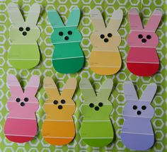 Cutie cottontails made from paint chips...make your own template and start a rabbit factory.