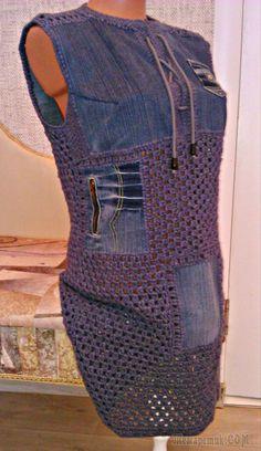 Переделки из джинсов,комбинирование вязание и ткань   ДЖИНСА   Постила