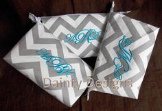 """SALE 15 Dollars Per Bag - Three 10"""" Chevron Cosmetic Bags - FREE Embroidered Monograms by daintydesignsshop, $45.00"""