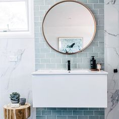 Marble and accent wall with slightest hint of blue.