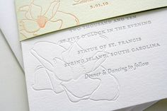 magnolia blossom letterpress wedding invitation