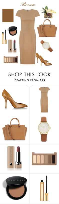 """Brown"" by regnovo on Polyvore featuring Giuseppe Zanotti, Andrea Marques, Michael Kors, Kate Spade, Marc Jacobs, Urban Decay, Bobbi Brown Cosmetics and John-Richard"