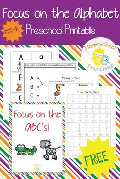 Preschoolers will love focusing on the alphabet with this fun printable pack! With hands-on activities and skill builders, your little ones will learn to identify their letters, match uppercase and lowercase letters, and more!   homeschoolpreschool.net
