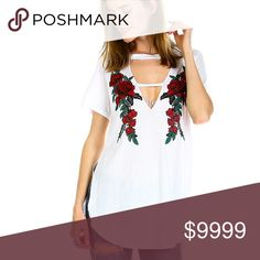Distressed Rose Tunic Gorgeous Rose Cut Out Tunic with Distressing detail. Side slits features high low detail with tunic length cut. Semi-sheer. 51% Cotton 49% Modal. Lightweight and airy, fabric. So trendy! Pair with a strappy bralette as shown in last photos. White Box Tops Tunics
