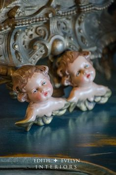 Vintage Cherubs Lot of Two Marked Western by edithandevelyn