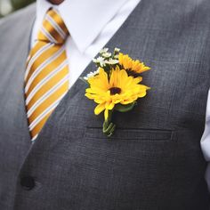 sunflower boutonniere - Google Search I appreciate the grey vest with the gold tie. Simple yet beautifully handsome.