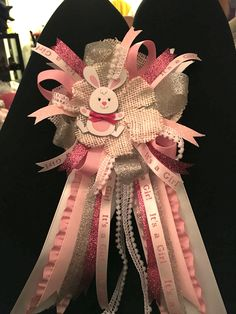 Baby shower pink & grey bunny theme corsage for mother to be.