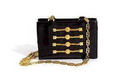 A Gianni Versace Black Leather Chain Shoulder Bag, 9.25