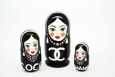 Coco Chanel Nesting Dolls, Kids Gift, Matryoshka Doll 3pcs, Funny Gifts, Kids Room Decor, chanel art doll