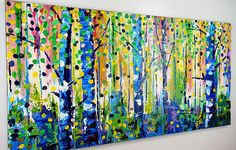 Birch Tree Painting Large Abstract Contemporary Forest