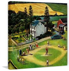Marmont Hill Family Baseball Fine art canvas print from the Marmont Hill Art Col 18 x 18 Home Decor Wall Decor Canvas Art