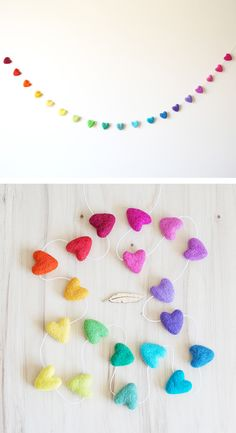 Full Rainbow Felted Heart Garland, Nursery Bunting, Kids Room Decor, Heart Banner Photo Prop, Gender Neutral Nursery Decor, Rainbow Party   Australian Design   Perfect Christmas gift for a baby or toddler room