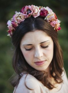 corona flores rosa