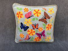 60's Hand Embroidered Square Butterfly Spring Pillow Ice Blue Velvet Piping and Back by ElkHugsVintage on Etsy