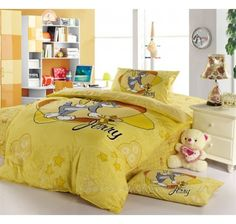 Yellow Tom And Jerry Bedding