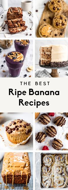 Easy Ripe Banana Recipe, Ripe Banana Recipes Healthy, Healthy Banana Muffins, Banana Dessert Recipes, Chocolate Chip Banana Bread, Oatmeal Chocolate Chip Cookies, Banana Bread Recipes, Overripe Banana Recipes, Desserts
