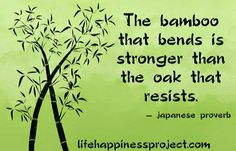 The bamboo that bends is stronger than the oak that  resists.  Think about this