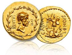 Marcus Junius Brutus, d. 42 BC. Gold Aureus (8.07 g), struck at a traveling mint in Macedonia or Western Asia Minor, summer/autumn 42 BC. With moneyer, P. Servilius Casca Longus. Bare head right of Brutus with short beard, BRVTVS IMP on either side, all within laurel wreath. Reverse: Combined military and naval trophies, with prows and shields at base; a small L to left of trophy; CASCA LONGVS on either side.