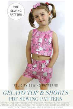 Girls summer top and shorts PDF sewing pattern by Felicity Sewing Patterns. Sizes 2 to 10 years. Easy to sew.
