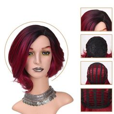 Items per Package: 1 Piece Only Can Be Permed: Yes Wigs Length: Short Cap Size: Average Size Texture: Natural Wave Material Grade: High Temperature Fiber Color: Ombre Red ,Ombre Blue,Ombre Pink Dark Ombre Hair, Best Ombre Hair, Red Ombre, Ombre Hair Color, Dark Hair, Short Hair Wigs, Short Wavy Hair, Short Hair With Layers, Wigs With Bangs