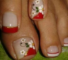 Different French Pedicure Toenail Art Designs, Pedicure Designs, Pedicure Nail Art, Toe Nail Art, Nail Polish Designs, French Pedicure, Hair And Nails, My Nails, Feet Nail Design