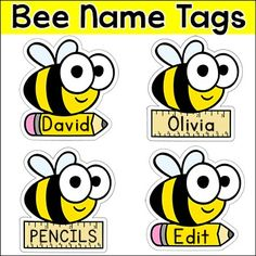 Editable Name Tags - Bee Theme Classroom Decor - Editable Classroom Labels - Anatol Kennea Classroom Name Tags, Classroom Labels, Classroom Displays, Classroom Themes, Preschool Rooms, Kindergarten Classroom, Kindergarten Name Tags, Preschool Name Tags, Cubby Tags