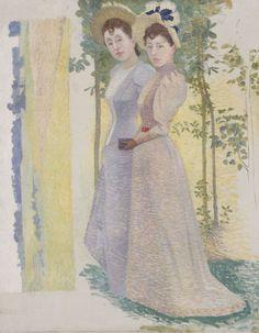 Aristide Maillol (1861-1944), Deux Femmes en Chapeau et étude de Paysage, c.1895.
