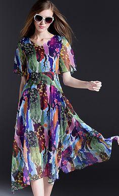 Casual V-Neck Short Sleeve Floral Print A-Line Dress