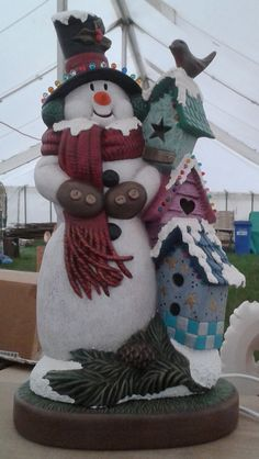 """Paint Your Own Ceramic Bisque - Extra Large Snowman & Birdhouses 17"""" tall in Crafts, Ceramic & Pottery Making 