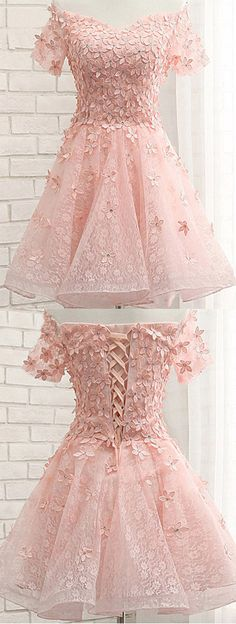 Pearl Pink Off Shoulder Short Sleeves Lace Beading Appliques Short Prom Dress