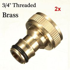 2x 3/4 Brass Threaded Garden Hose Water Tap Fittings Solid Connector